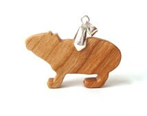 Wood Capybara Necklace Wood Animal Pendant Necklace South American Animal Jewelry Hand Cut Wooden Jewelry Cherry