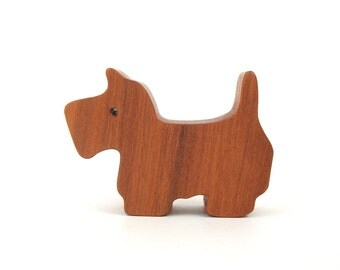 Miniature Wooden Dog Toy Scottish Terrier Waldorf Wood Toys Hand Cut Scroll Saw Cherry
