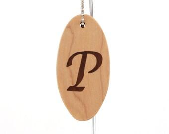 Personalized Single Initial Key Chain, Wood Letter P Keychain, Initial Key Fob Walnut