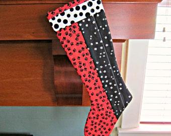 Quilted Christmas Stocking, Patchwork Stocking, Modern Stocking, Cat Stocking, Dog Stocking, Pawprint Stocking, Polka dot Stocking