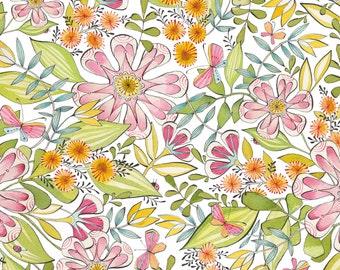 Garden Girl - Always In Bloom in White by Cori Dantini for Blend Fabrics