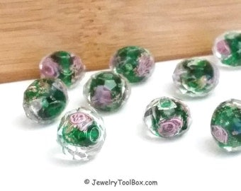 Green Crystal Beads,  Crystal Flower Inside Beads, Faceted Crystal Rondelles, Rose Flower Inside Beads, 11x9mm, Hole 2mm, Lot Size 6 to 14