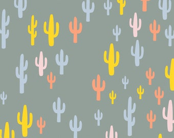 Sale, Cactus Crib Sheet - Cacti Field Festival - Fitted Crib Sheet