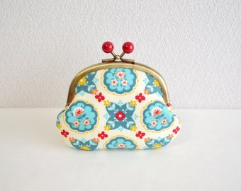 Retro folk floral coin purse with red acrylic balls. Handmade in Japan. Ready to ship - frame purse, orange and blue. Scandinavian floral.