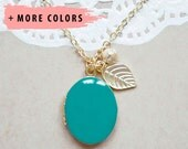 Enamel Locket with Charms - Stamped Leaf with Metal Ball Pendant