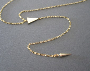 Gold Triangle Spike Lariat Necklace
