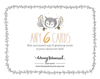 Set of 6 Greeting Cards - Mix and Match