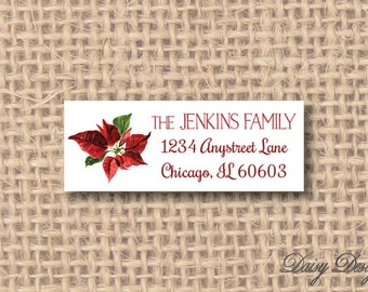 Return Address Labels with Watercolor Poinsettia Flower - 120 self-sticking labels