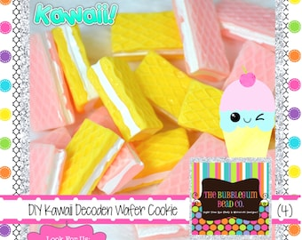 KAWAII WAFER COOKIE Cabochons Qty  Sandwich Cookies Cabochon Jewelry Supplies Craft Supplies DiyKawaii Supplies Bow Center Decoden Deco