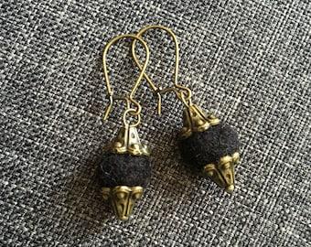 black felt earrings