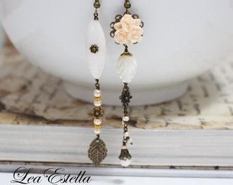 Asymmetrical Earrings Peach Floral earrings Mismatched earrings Ivory pearl earrings Grecian earrings Greek goddess - Roman Princess