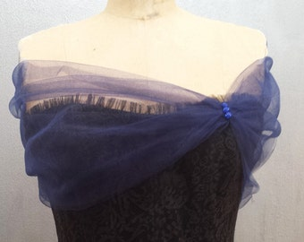 Navy Blue Tulle Shear Wrap Shawl Stole Shear Cover Up