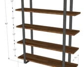 Dark Oak 5 Shelf Bookcase