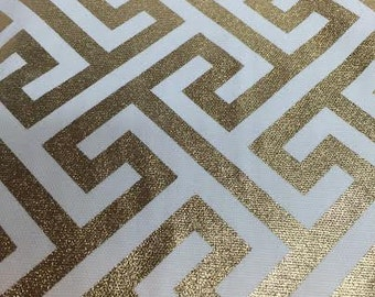 Metallic Gold Geometric fabric by the yard