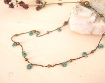 Green mint necklace with little leather circles, handmade necklace boho style
