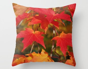Fiery autumn maple leaves throw pillow cover, red, scarlet, gold, orange, nature photograph, living room, bedroom, home decor