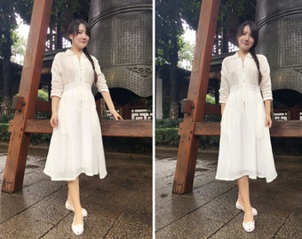 Ramies in SuZhou/ Pleated Pure Linen Dress with Long Zipper/ 5 Colors/ 3/4 Sleeve