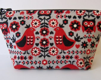 Folklore Owl Small Cosmetic Bag, Zipper Pouch, Pencil Case, Toiletry Bag, Travel Bag, Dopp Kit