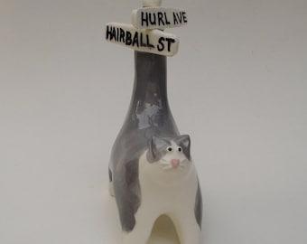 Hurl Avenue and Hairball Street, ceramic cat mini sculpture
