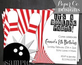 Printable Bowling Birthday Invitation - Digital File ONLY