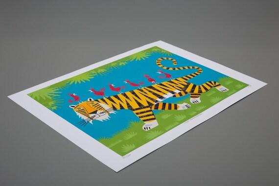 Tiger Transportation - Nature / Wildlife - Childrens Art - Animal Art -  Kids Art - Limited Edition Art Poster Print by Oliver Lake