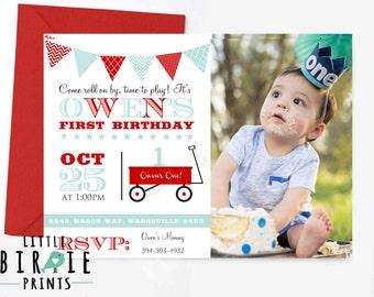 Little Red Wagon invitation - Wagon birthday invitation - Little Red wagon first birthday - Wagon 1st Birthday Invitation