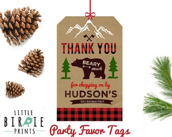 LUMBERJACK BIRTHDAY - Lumberjack first birthday party favor tags thank you tags for party favors Lumberjack Bear Birthday