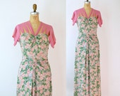 1940s Novelty Print Rayon Dress / 40s Floral Rose Print Gown