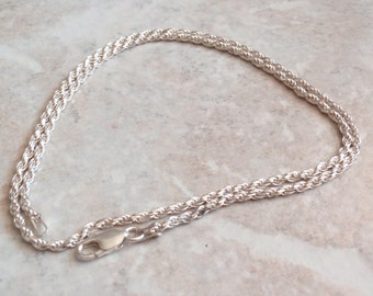 Sterling Rope Chain Silver Twisted Necklace 18 Inches Italy Vintage BC0130