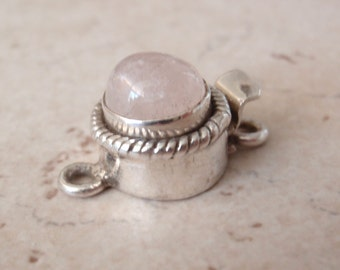 Sterling Silver Box Clasp Round Natural Rose Quartz Cabochon Rope Trim Single Strand Qty. 1 C021