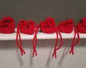 5 crocheted red hearts valentine's day gift tags love wedding bridal baby shower