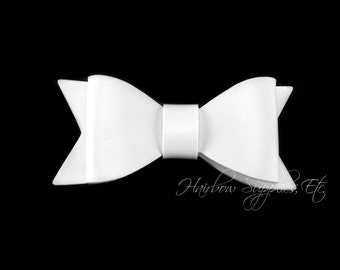 White Faux Leather Bows 2-1/2 inches-White Leather Bow, White Leather, White Faux Leather, White Leather Bow Headband, White Leather Bow Tie