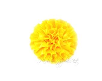 Yellow Ruffle Flower Silk Mini 2 inch - Yellow Fabric Flowers, Yellow Silk Flowers, Yellow Hair Flowers, Yellow Flowers for Hair