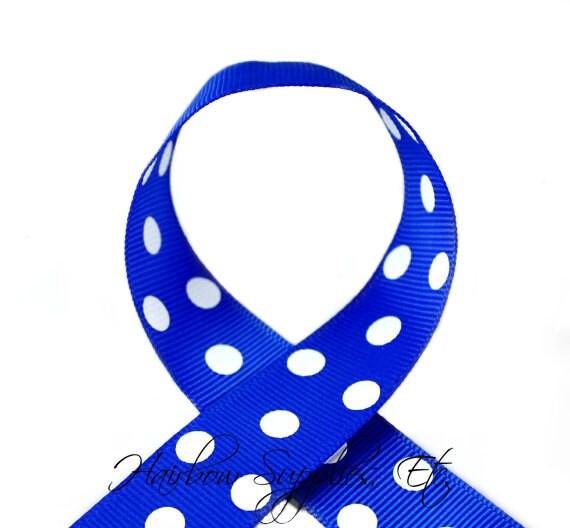 Electric Blue Polka Dots 1-1/2 inch Polka Dot Grosgrain Ribbon - Polka Dot Ribbon, Polka Dot Hair Bow, Polka Dot Bow, Ribbon By The Yard