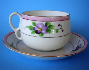 Vintage Tea Cup & Saucer - Fine China Hand Painted Purple Lavender Floral with Gold Accent - JAPAN