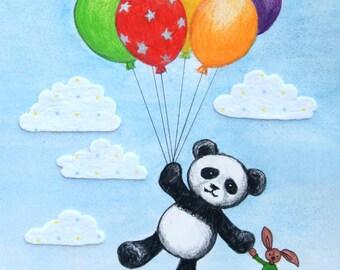 Pablo Panda Balloon Adventure, Nursery Wall Art Print, Modern Whimsical Art Print, Unisex Baby Gift, 8x10, 11x14
