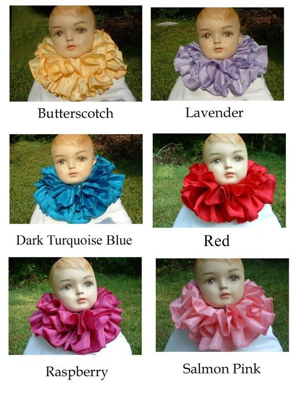 C055   Gorgeous Double Ruffle Taffeta Children's Clown Collar         You Choose the Color