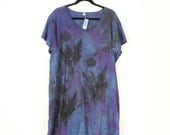 moody blue, gray and purple hand dyed and printed cotton top or dress with poppies in plus size