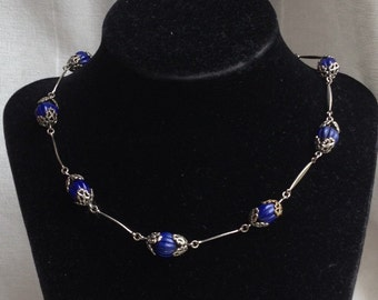 Vintage Art Deco Blue Glass Seed Bead + Silver metal Link Necklace