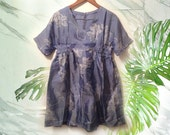 90s Grunge Cornflower Blue Silk Iridescent Geo Floral Babydoll Dress size Medium