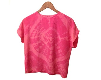 Vintage 90s Pink Silk Boho Tie Dye Upcycled Boxy Fit Blouse size Small