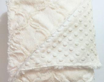 Gender Neutral Minky  Blanket - Embossed Cream - Gender Neutral Blanket - Baby Blanket- Unisex Blanket - Unisex Baby Blanket - Cream Minky