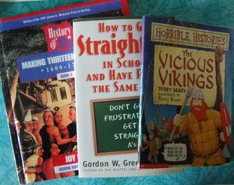 3 Kid's History & Study Books Lot: 1 HB, 2 PBs