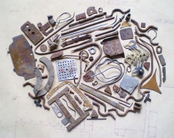 74 Rusty Metal Pieces - Found Objects for Assemblage, Jewelry or Altered Art - Salvaged Supplies - Industrial Salvage