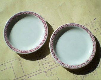 2 Vintage Sterling China Side Dishes or Small Plates - Red & White - Restaurantware