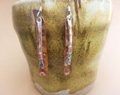 Hammered Silver and Copper Stamped Stick Earrings - Mixed Metal Earrings - Tribal Dangle Earrings