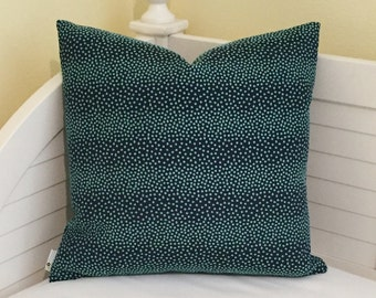Anthropologie Little Swiss Dots in Navy and Aqua Designer Pillow Cover 20x20
