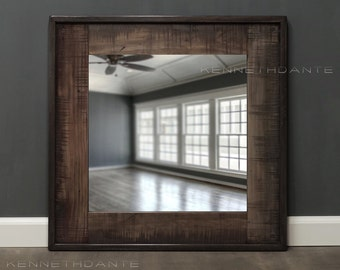 Reclaimed Wood Mirror Distressed Brown Reds Neutrals w Dowel Accents Square Frame Salvage Wooden Mirror 26 x 26
