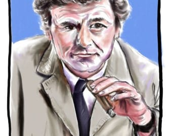 Lieutenant Columbo, A4 Fine Art Portrait Drawing Print
