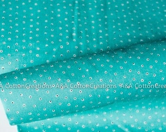 ORGANIC Two Tone Tiny Turquoise Cotton Fabric, Quilting Weight, Garden Secrets Collection from Cloud9